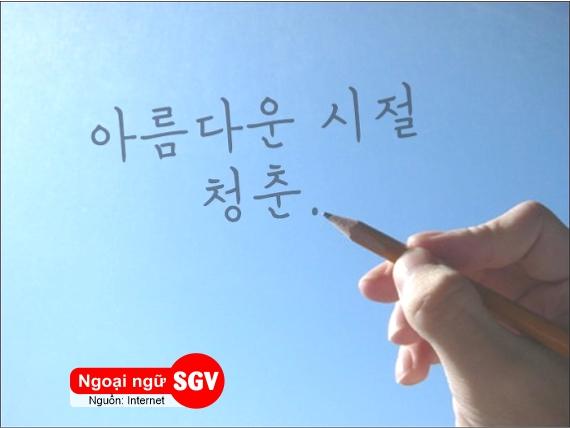 thanh xuân trong tiếng Hàn là gì, sgv